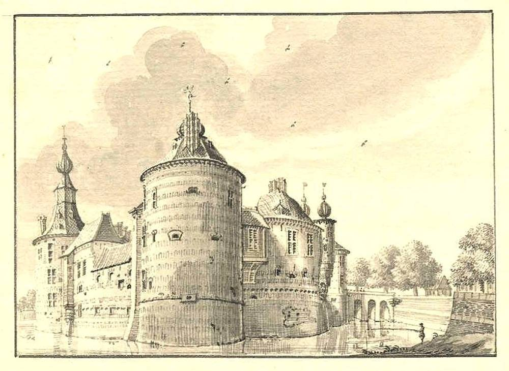 Ru�ne Batenburg in Batenburg. Tekening Jan de Beijer, 1741